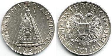 5 Schilling 1934 österreich Silbermünze Magna Mater Mariazell Vz