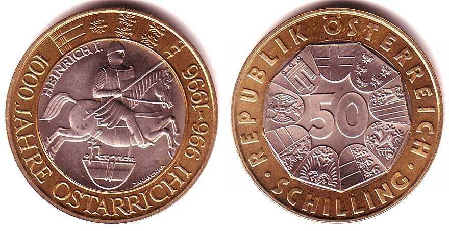 50 Schilling 1996 österreich 1000 Jahre österreich Heinrich I St