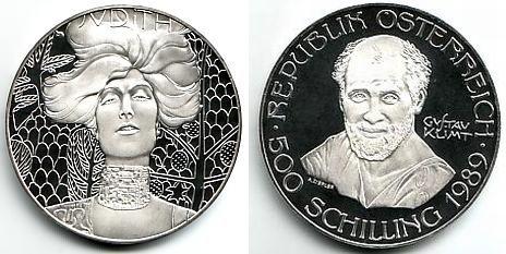 500 Schilling 1989 Österreich Silbermünze - Maler Gustav Klimt ...