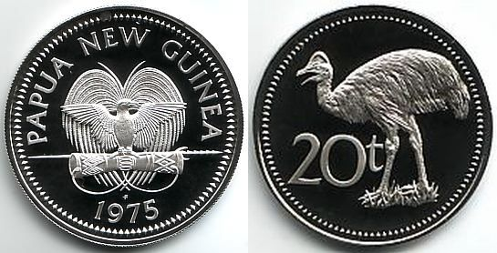 20 Toea 1975 Papua Neuguinea Kasuar Vögel Pp Polierte Platte