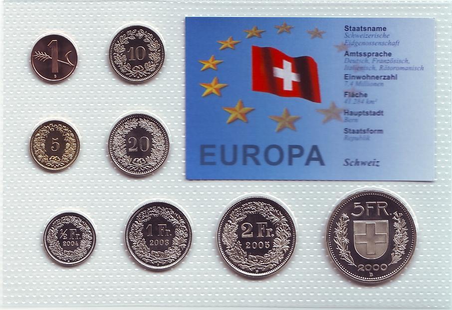 1 Rappen 5 Franken Schweiz Kursmünzsatz Kms 8 Münzen