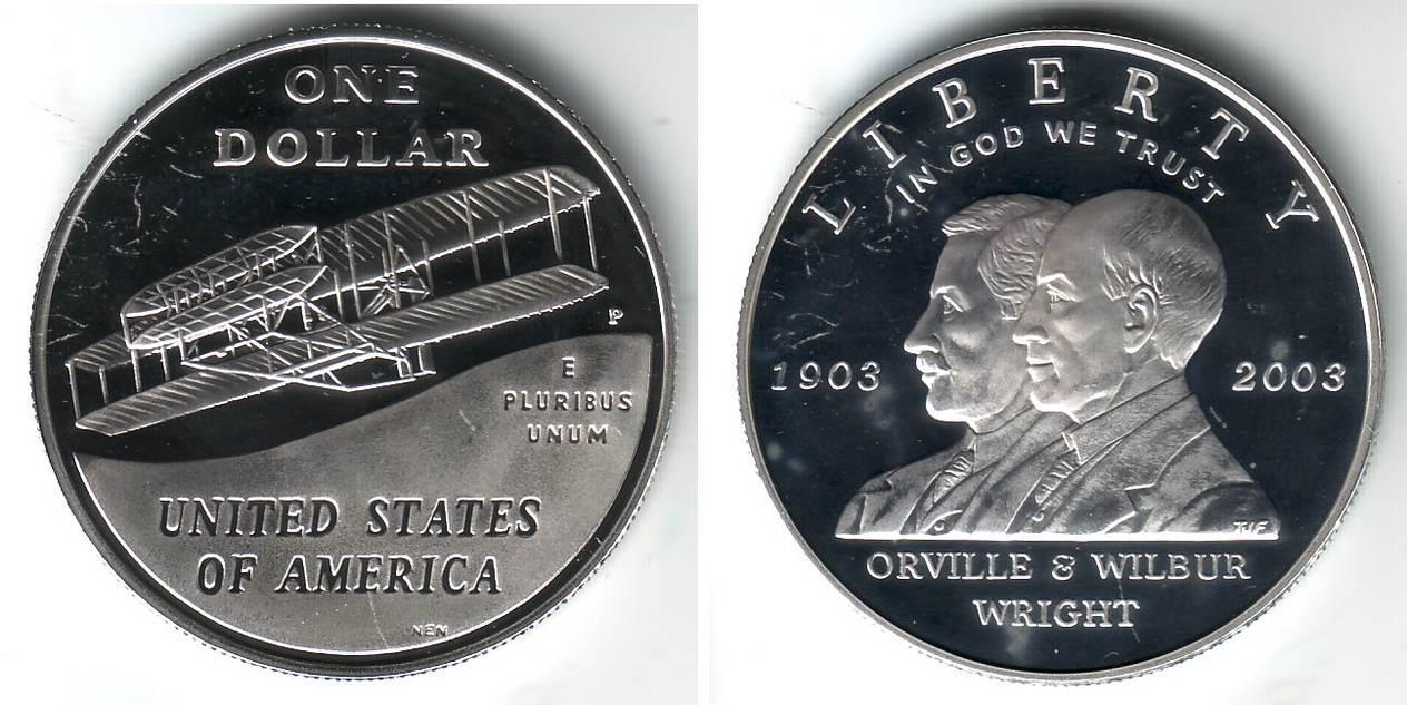 1 Dollar 2003 P Usa 100 Erster Motorflug Der Gebr 252 Der