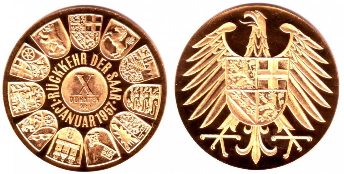 10 Dukaten 1957 Deutschland Saarland 10 Dukaten Goldmedaille