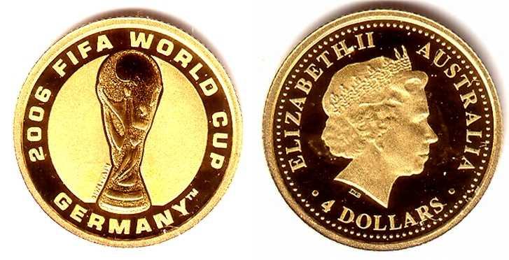 4 Dollar 2006 Australien 125 Unze Goldmünze Fußball Wm