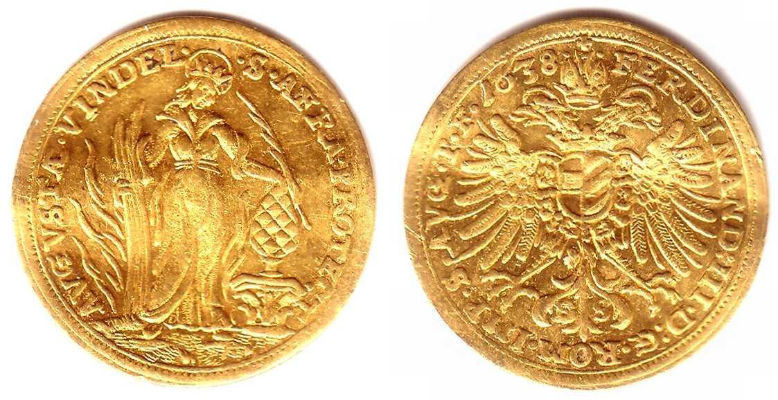 1 Dukat 1638 Augsburg Stadt 1 Dukat Goldmünze Kaiser Ferdinand