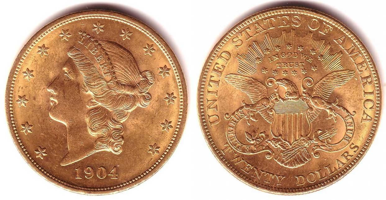 20 Dollar 1904 Usa Goldmünze Liberty Double Eagle Vz Ma Shops