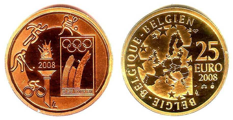 25 Euro 2008 Belgien Goldmünze Olympische Sportarten Pp In Kapsel