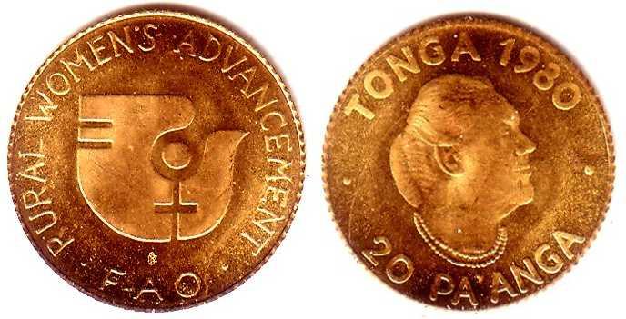 20 Paanga 1980 Tonga Goldmünze - FAO - Stilisierte Taube BU (MS65-70)