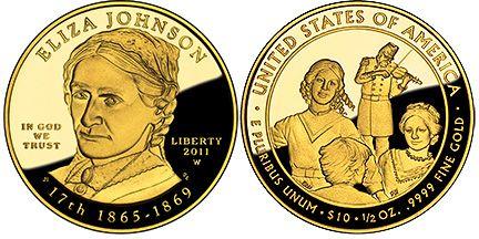 10 Dollar 2011 USA Goldmünze - Eliza Johnson Proof mit Box