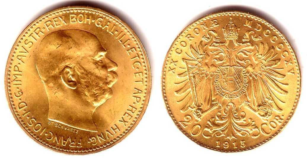 20 Kronen 1915 österreich Goldmünze Kaiser Franz Joseph I St Ma