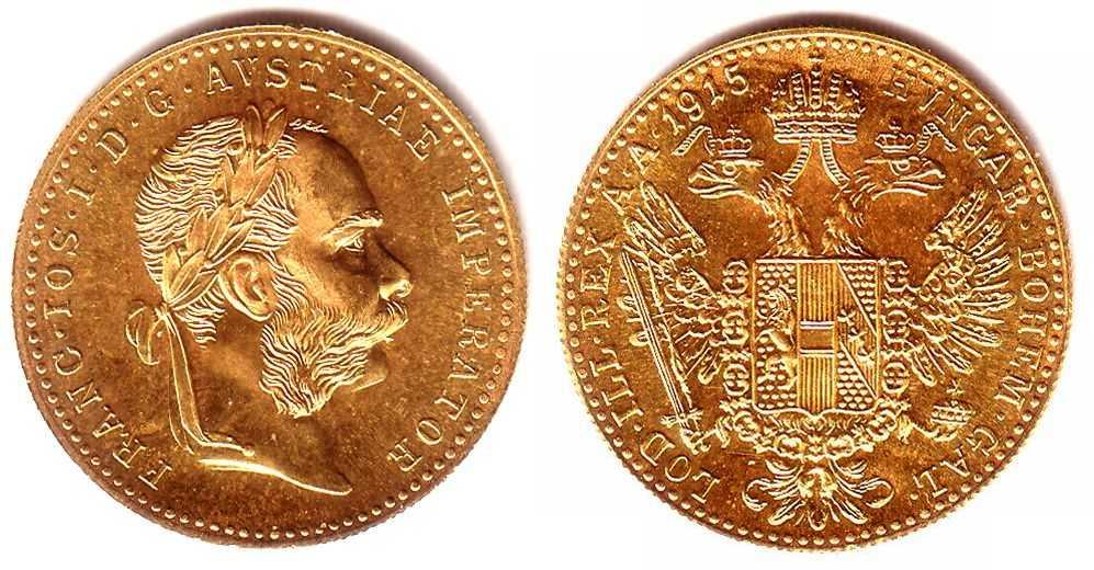 1 Dukat 1915 österreich Goldmünze Kaiser Franz Joseph I St Ma Shops