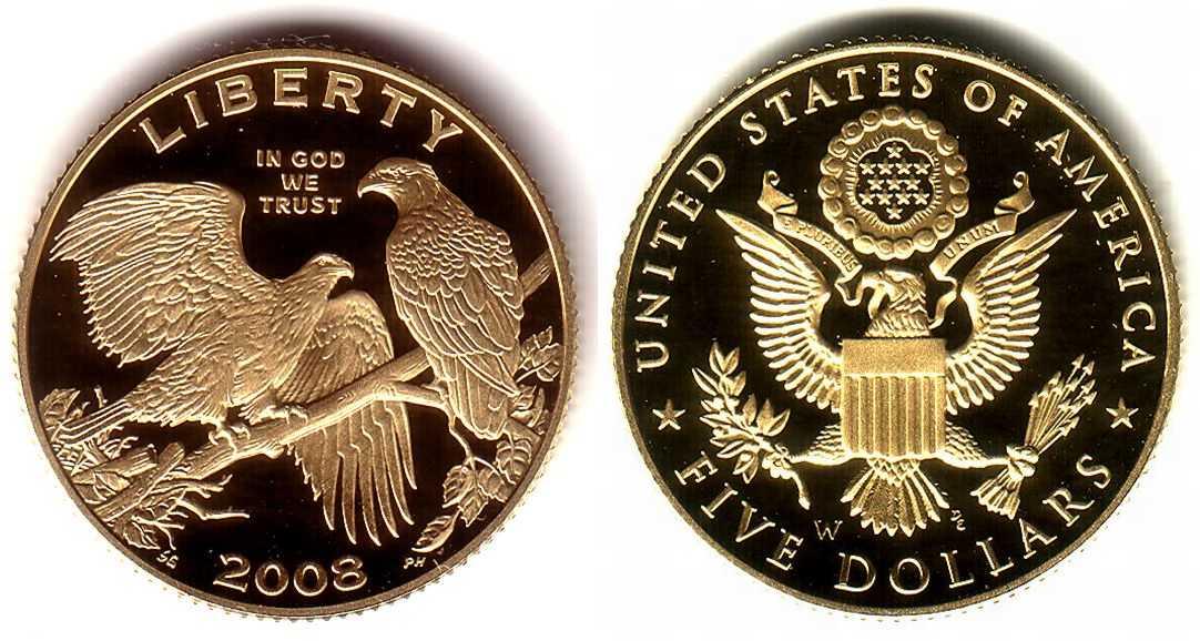 5 Dollar 2008 Usa Weißkopfseeadler Pp Mit Box Zertifikat Ma Shops