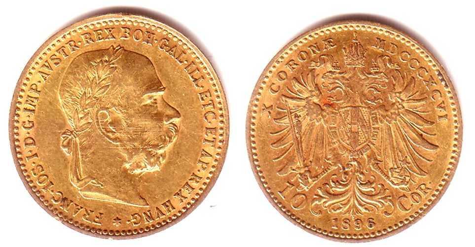 10 Kronen 1896 österreich Goldmünze Kaiser Franz Joseph Mit
