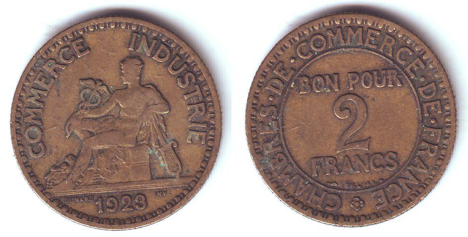 2 francs 1923 frankreich commerce industrie chambre de for Chambre commerce industrie