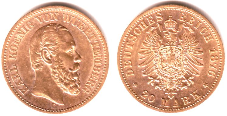 20 Mark 1876 F Württemberg König Karl Von Württemberg 1864 1891 Vz