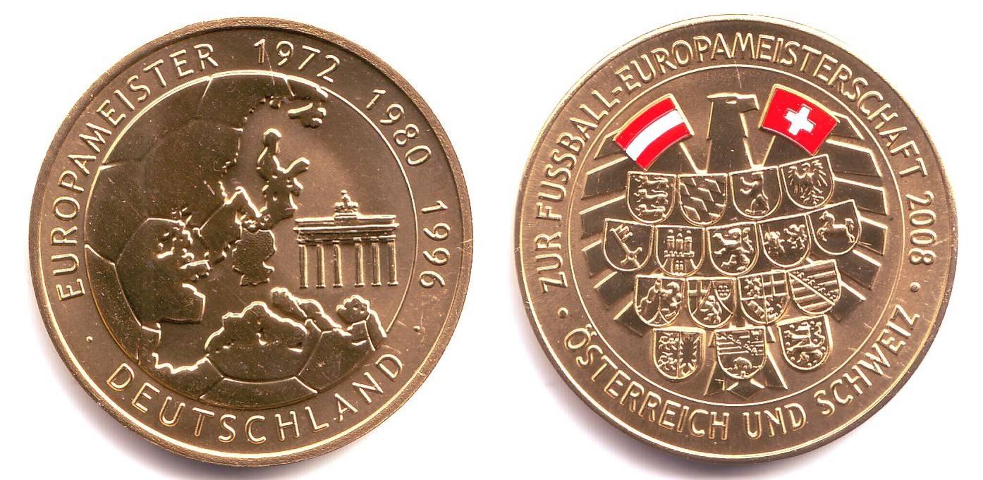 Medaille 2008 österreich Fußball Em 2008 In österreich Schweiz Europameister Deutschland Coloriert St