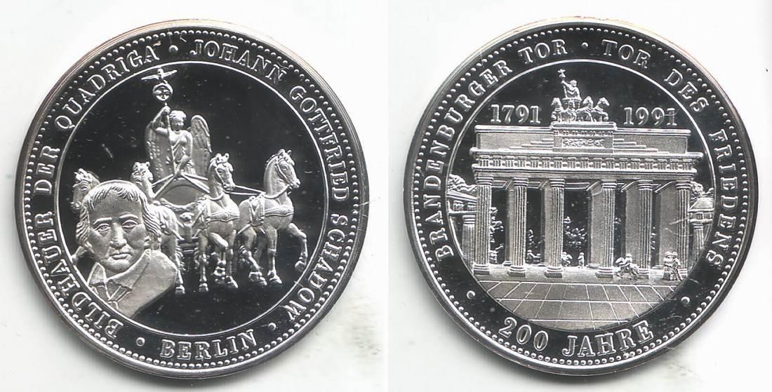 Medaille 1991 Berlin 200 Jahre Brandenburger Tor Berlin Johann