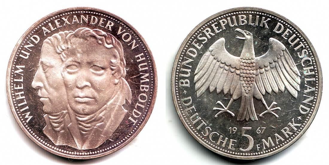 5 Mark 1967 F Deuschland 5 Dm Gedenkmünze Wilhelm Und Alexander