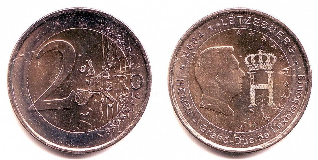 2 Euro 2004 Luxemburg 2 Euro Münze Großherzog Henri Bankfrisch