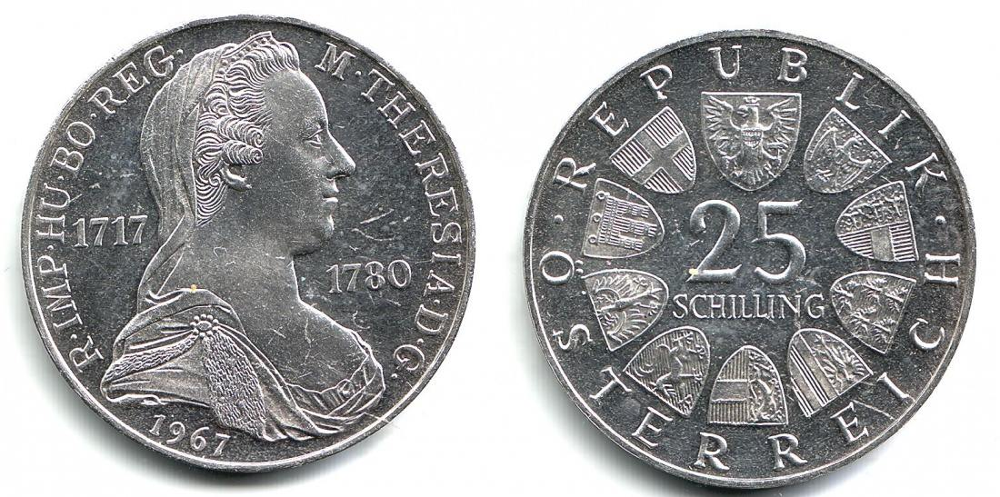 25 Schilling 1967 österreich Maria Theresia 1740 1780 Pp Ma