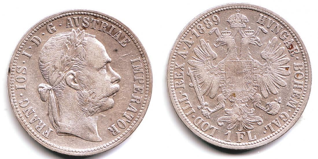 1 Florin 1 Gulden 1889 österreich Ungarn Franz Joseph I 1848