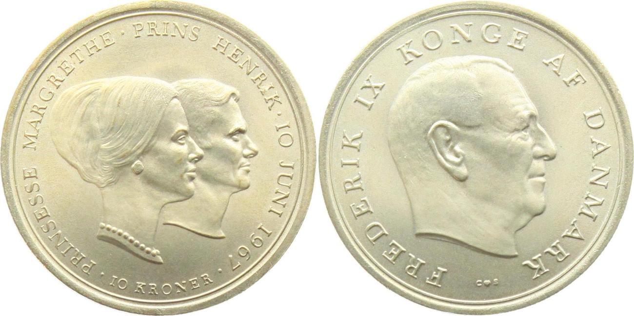 10 Kronen 1967 Dänemark Zur Hochzeit Von Prinzessin Margrethe Und