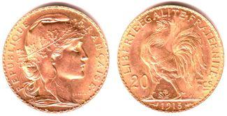 20 Francs 1898-1914 Frankreich Marianne/ Gallischer Hahn vz/st