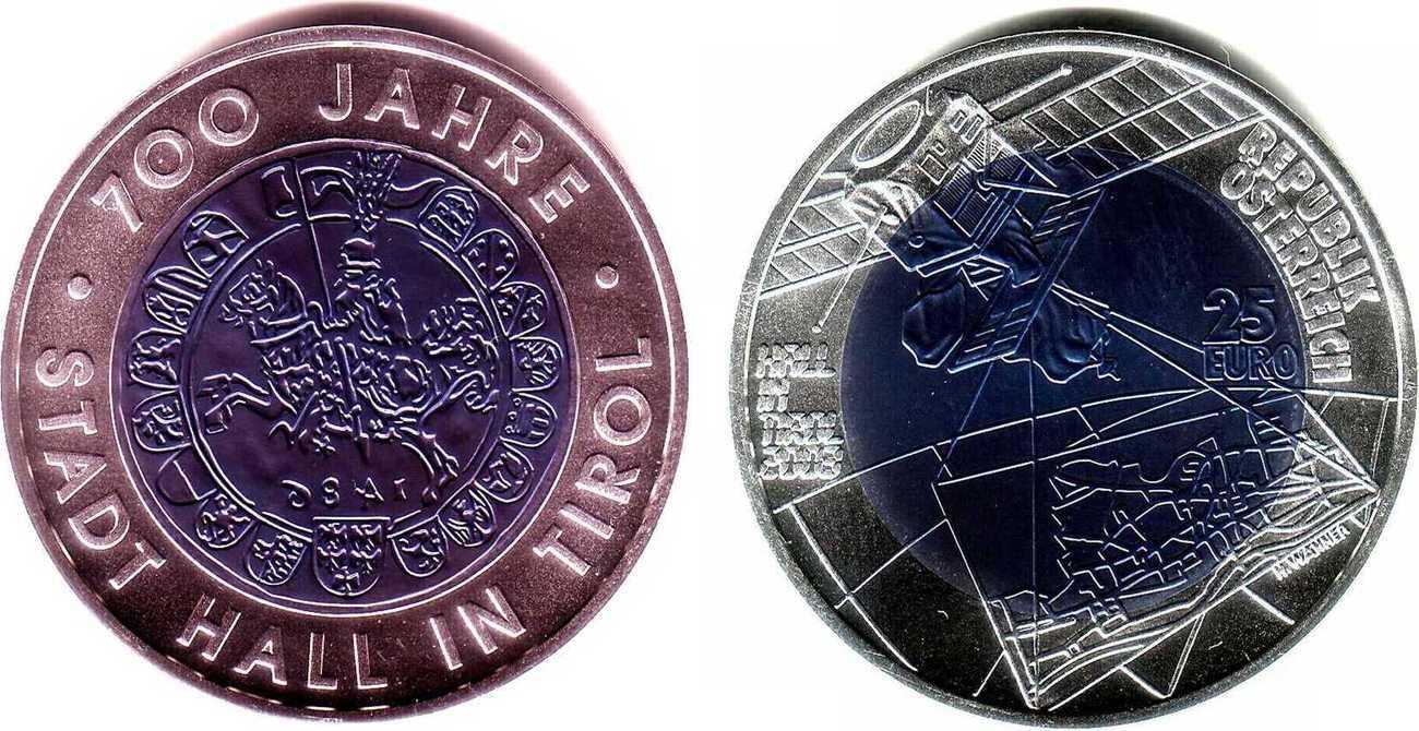 25 Euro 2003 österreich Niob Münze 700 Jahre Stadt Hall
