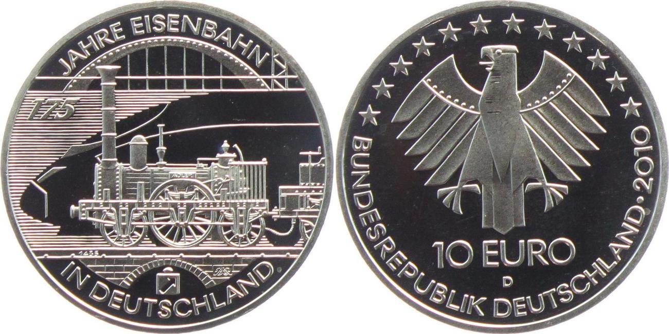10 Euro 2010 Deutschland 175 Jahre Eisenbahn In Deutschland Pp In