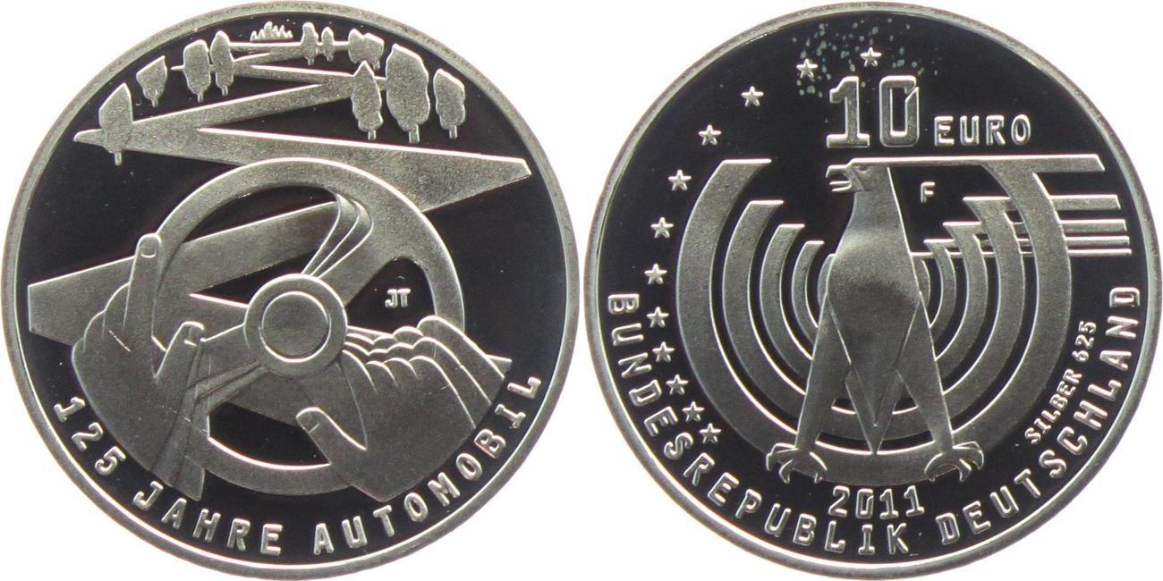 10 Euro 2011 Deutschland 125 Jahre Automobil Silbermünze Pp Silber