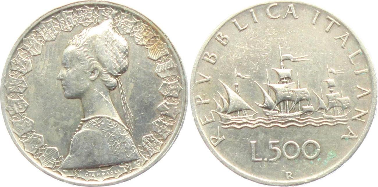 500 Lire 1961 Italien Segelschiff Flotte Des Kolumbus Ss Ma Shops