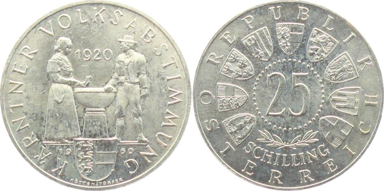 25 Schilling 1960 österreich Kärntner Volksabstimmung Bankfrisch