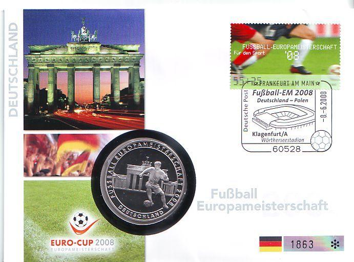 Nummerierter Numisbrief Medaille 2008 Deutschland Fußball Europameisterschaft 2008 In österreich Schweiz Deutschland Bbt Pp Mit Dunkler