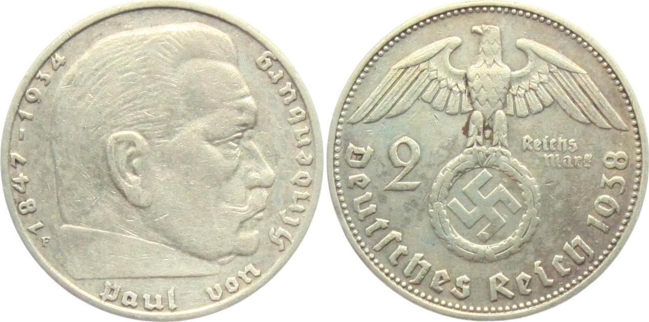 2 Reichsmark 1938 F Drittes Reich Paul Von Hindenburg Mit