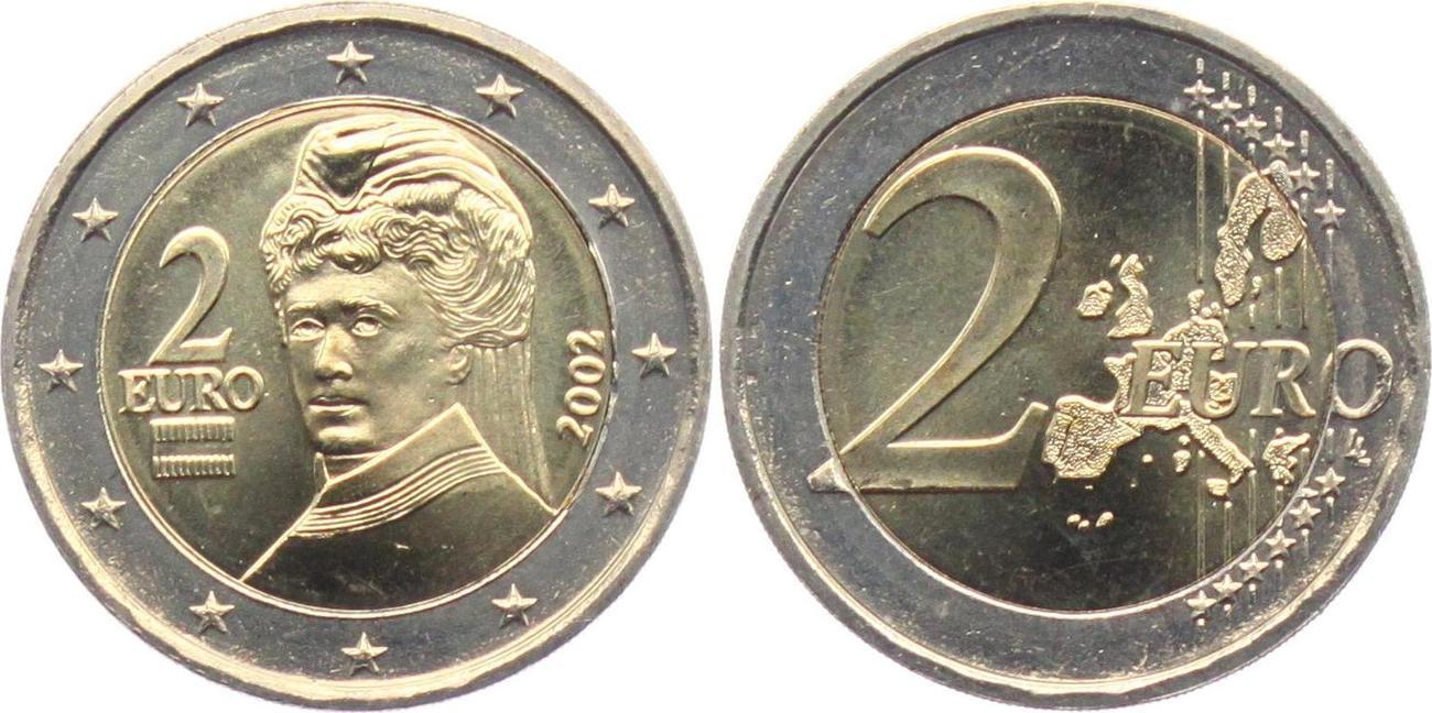 2 Euro 2002 österreich Bertha Von Suttner Bankfrisch Ma Shops