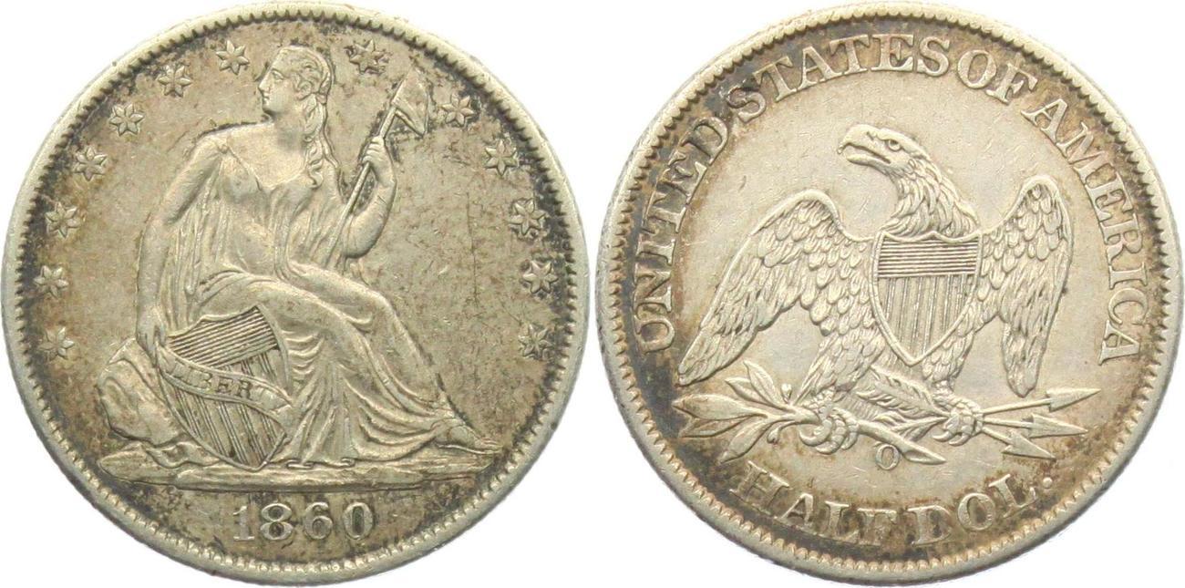12 Dollar 1860 O Usa Half Dollar Sitzende Liberty 1839 1891 Sup