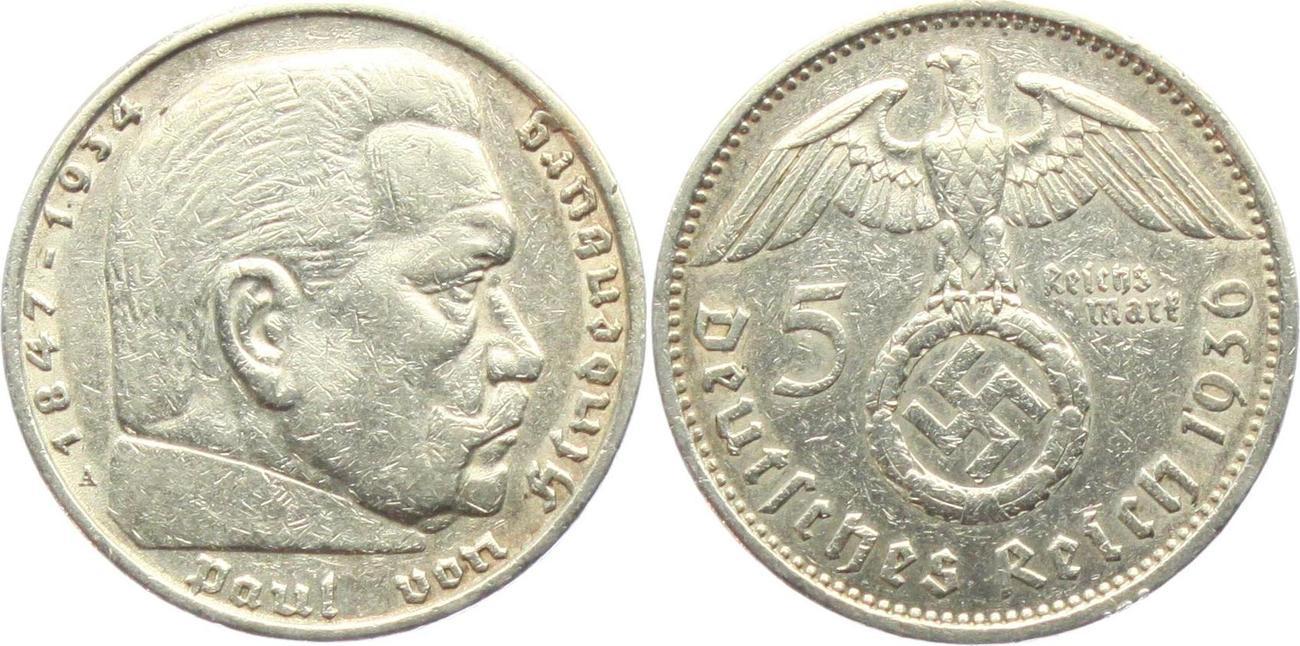 5 Reichsmark 1936 A Drittes Reich Paul Von Hindenburg Mit