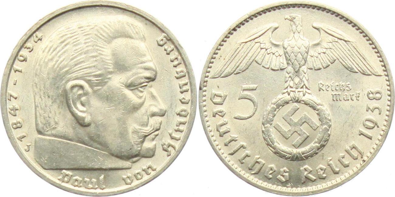 5 Reichsmark 1938 J Drittes Reich Paul Von Hindenburg Mit