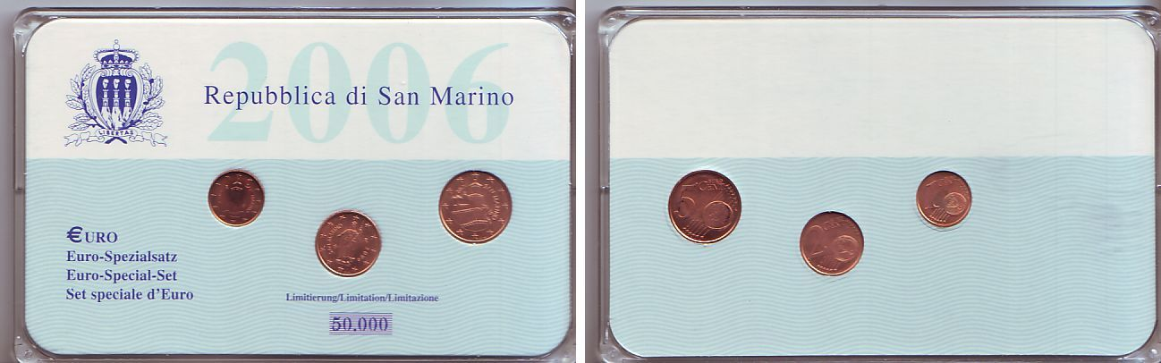 1 2 5 cent in plastikbox 2006 san marino euro. Black Bedroom Furniture Sets. Home Design Ideas