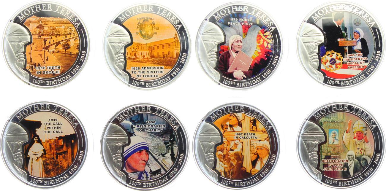 8 X 1 Dollar 2010 Palau Set Von 8 Münzen 100 Geburtstag Von