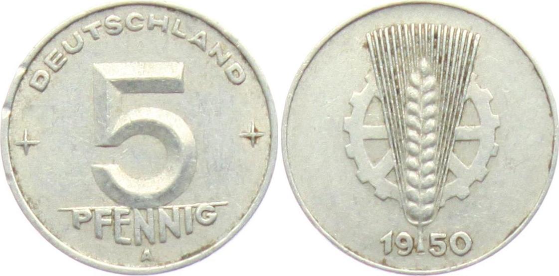 5 Pfennig 1950 A Ddr 5 Pfennig ähre Und Zahnrad Vz Min Rf Ma Shops