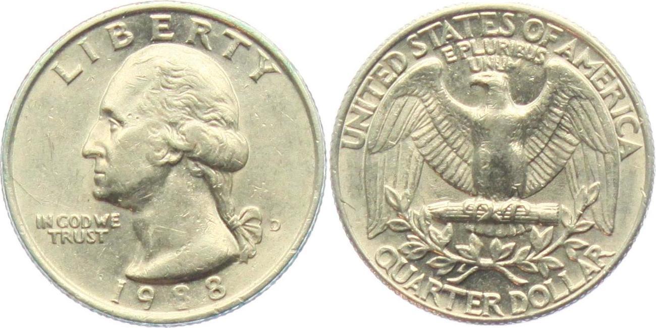 14 Dollar Quarter 1988 D Usa George Washington Ss Vz