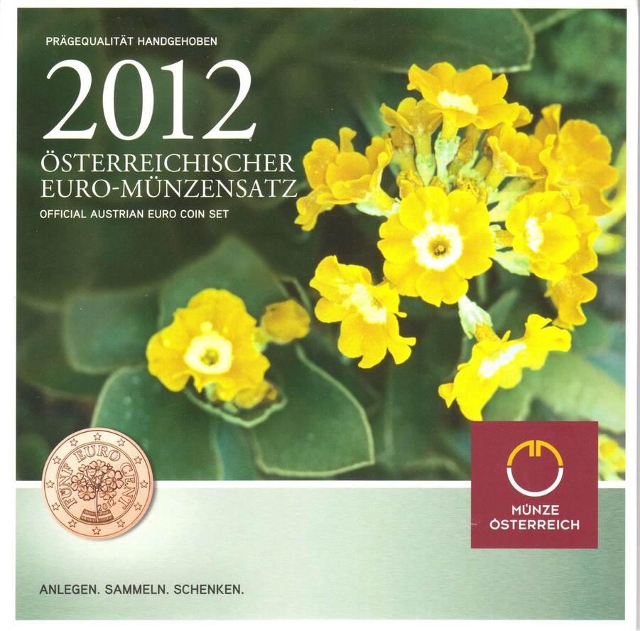388 2012 österreich Kursmünzen Satz 8 Münzen Von 1 Cent Bis 2