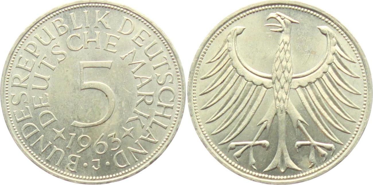 J/ägernr: 387 1963 F sehr sch/ön Silber 1963 5 Deutsche Mark Bundesadler BRD BR.Deutschland M/ünzen f/ür Sammler