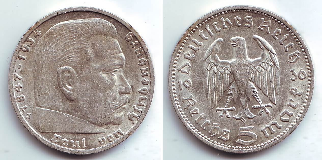 5 Mark 1936 J Drittes Reich Paul Von Hindenburg Pfr Ma Shops