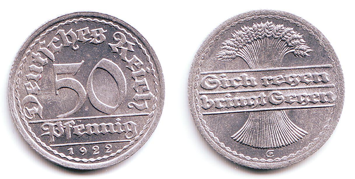 ... 1922 E Weimarer Republik 50 Pfennig mit deutscher Schrift prägefrisch