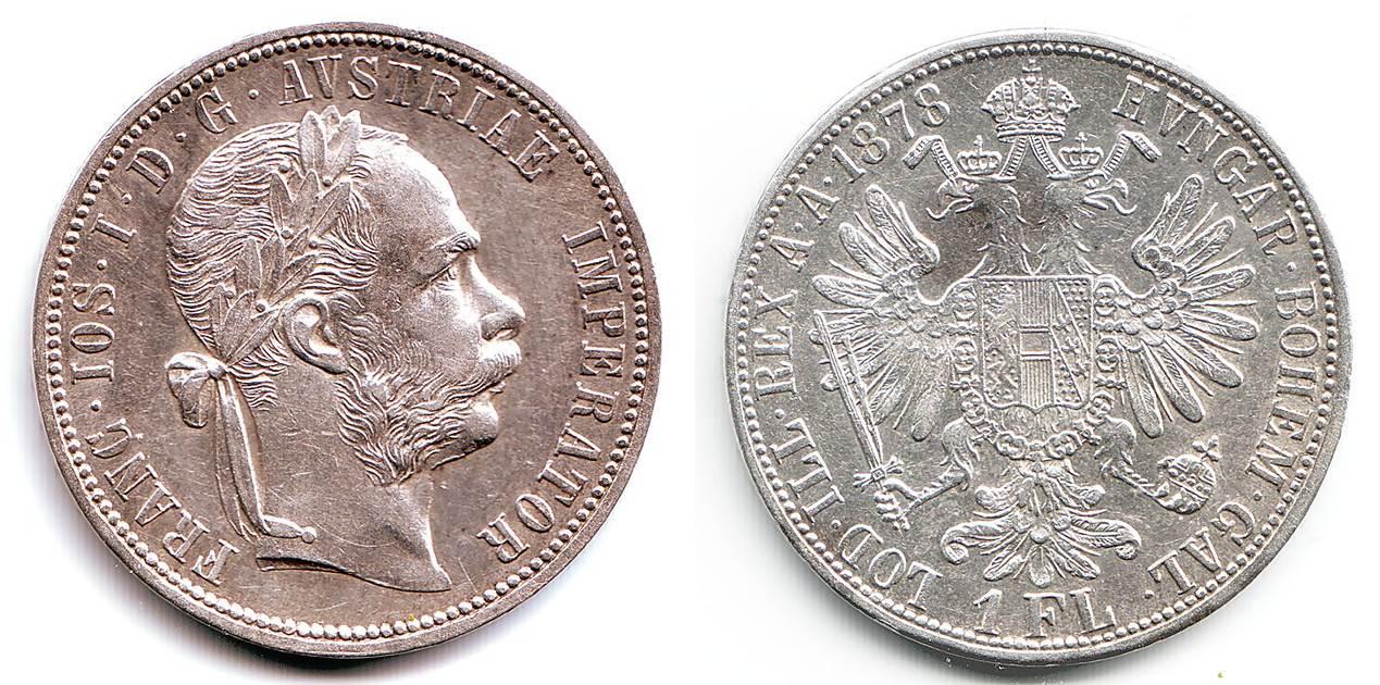 1 Fl Gulden 1878 österreich Silbermünze Kaiser Franz Joseph I Vz