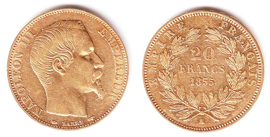 20 Francs 1855 A Frankreich Goldmünze Kaiser Napoleon Iii Vz Ma