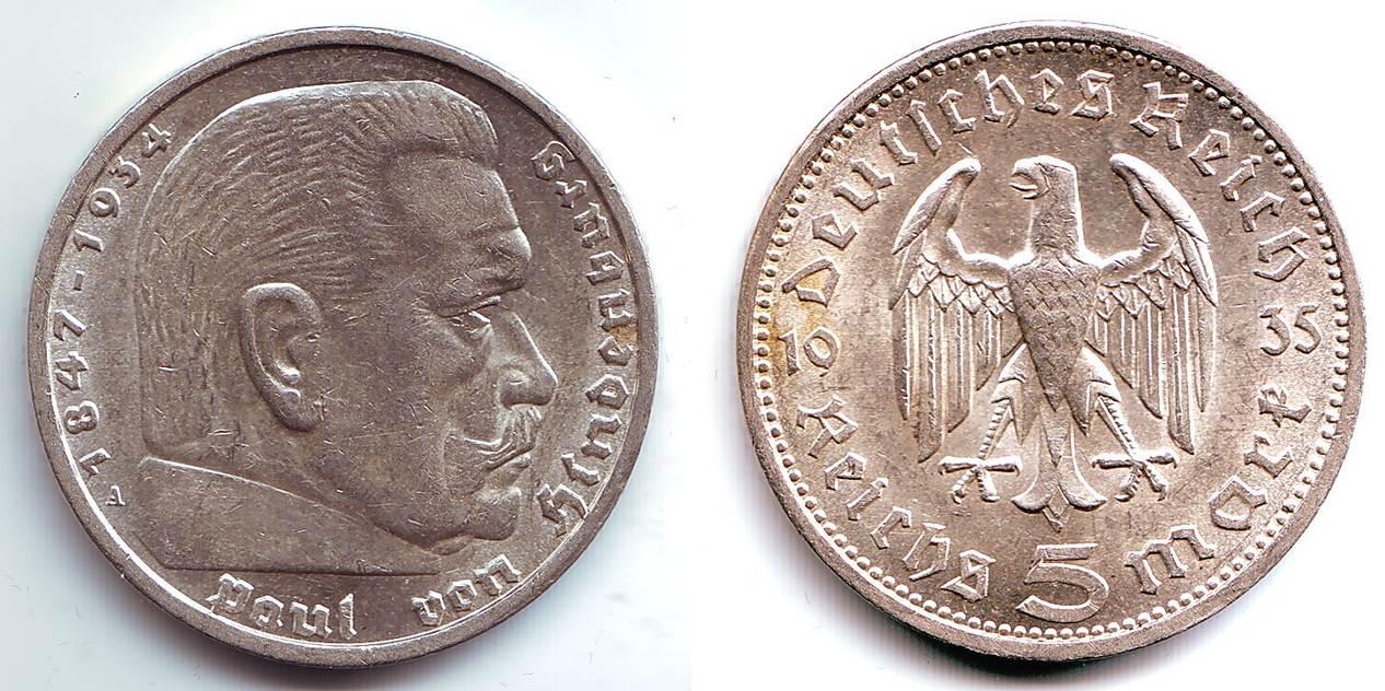 5 Mark 1935 A Drittes Reich Paul Von Hindenburg Ohne Hakenkreuz F