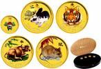Australien 5x 5 Dollars Lunar-Serie - 5x 1/20 Unze Goldmünzen, farbig